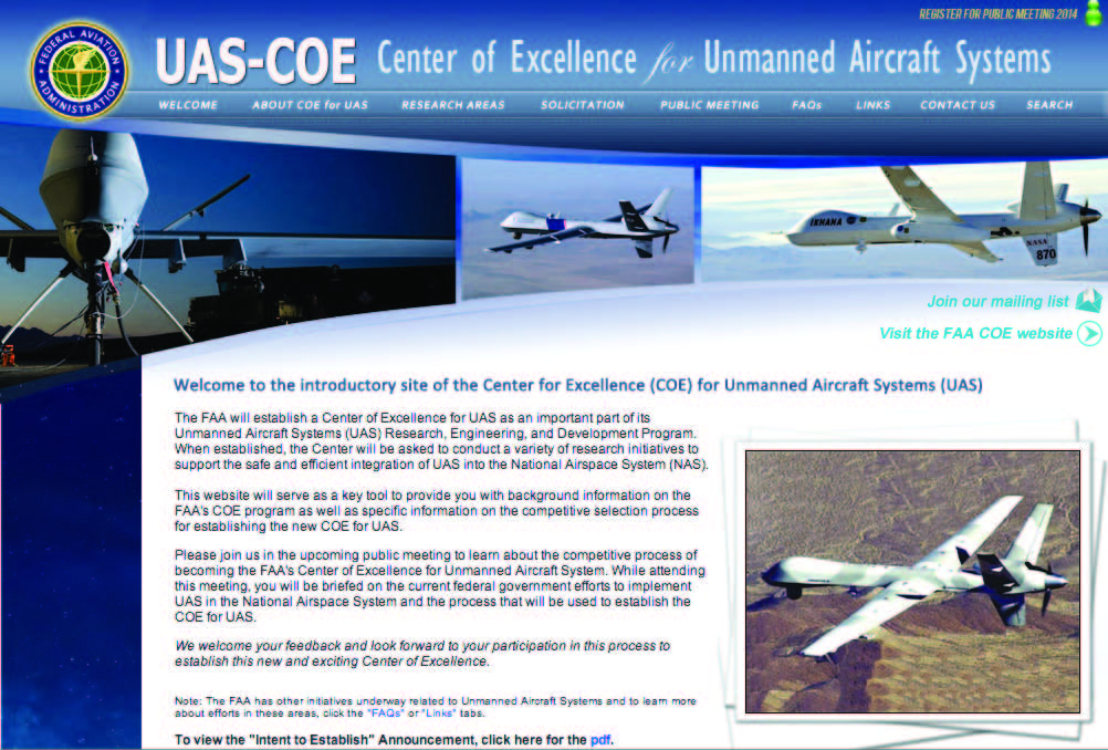 UAS Center of Excellence solicitation to be released in May