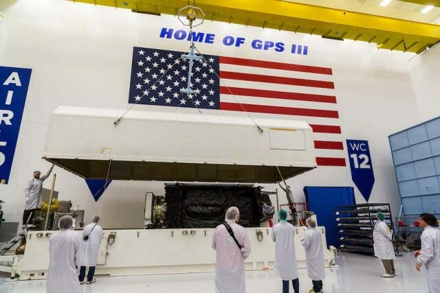 "GPS III SV-03 ""Columbus"" satellite packed prior to shipment to Cape Canaveral"