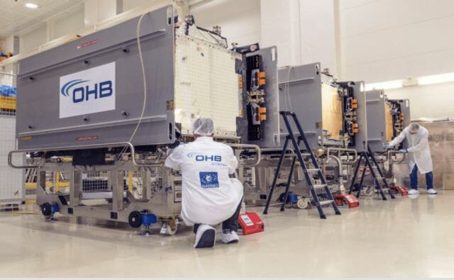 Galileo Batch 3 satellites in OHB production line. Photo courtesy ESA/OHB.