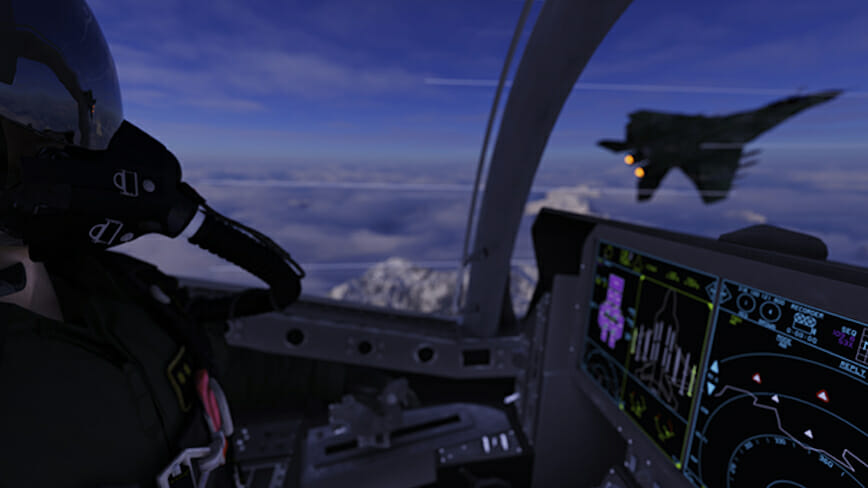 Jet fighter pilot viewing enemy aircraft on left wing in cockpit view 3d render